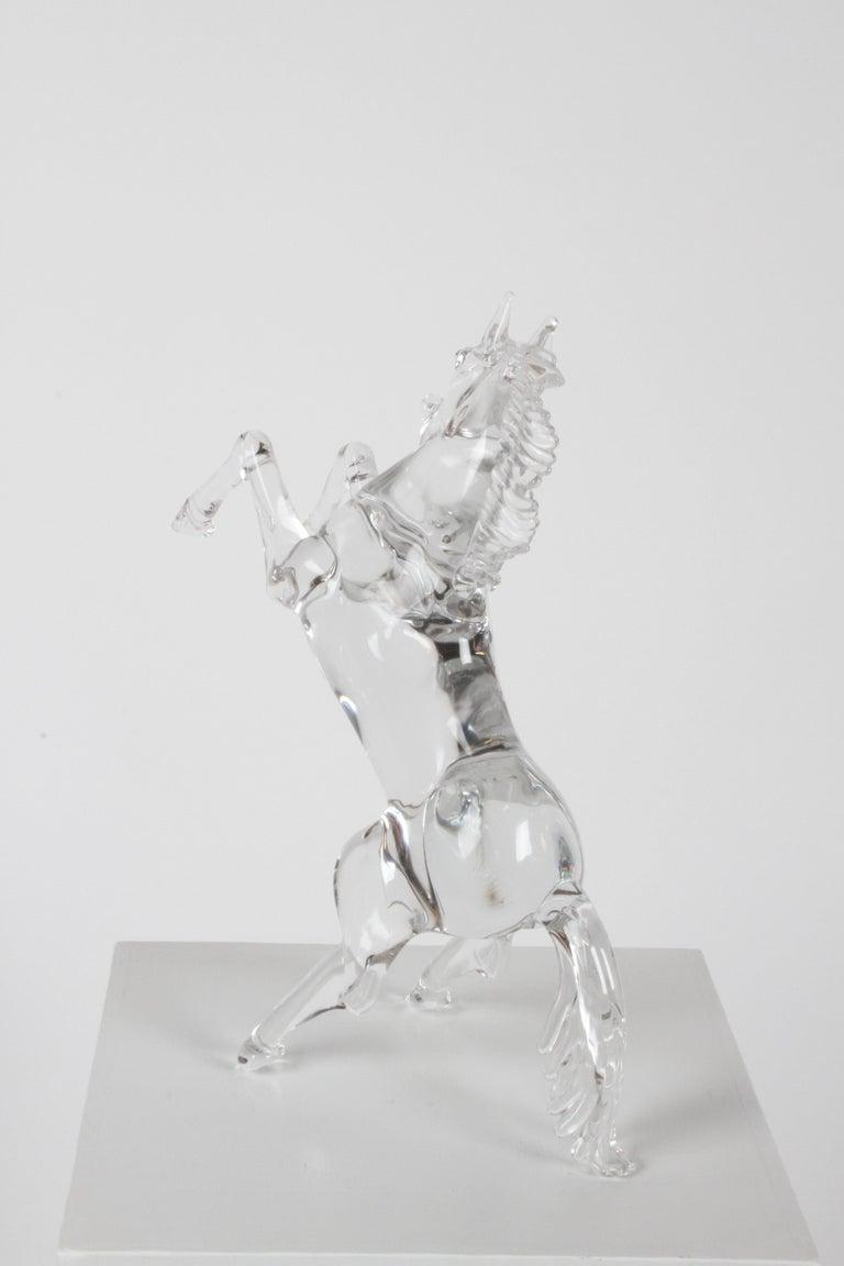 Pino Signoretto Signed Clear Murano Italian Glass Reared Up Horse Sculpture For Sale 7