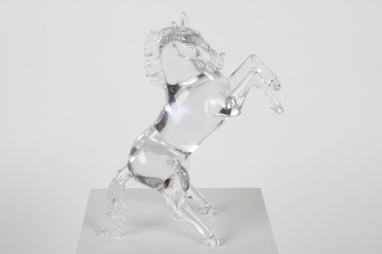 Italian glass master Pino Signoretto (1944-2017) signed clear murano glass horse sculpture in reared up position. In very nice condition, no repairs no damage.