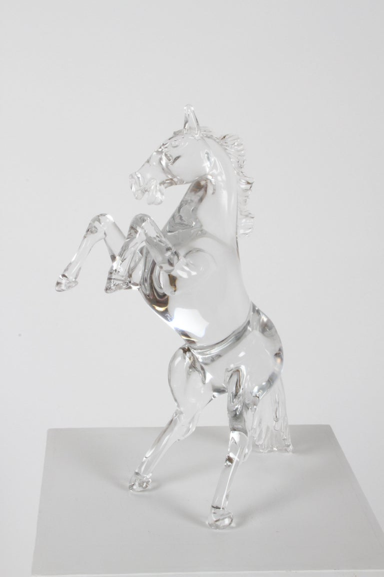 Mid-Century Modern Pino Signoretto Signed Clear Murano Italian Glass Reared Up Horse Sculpture For Sale