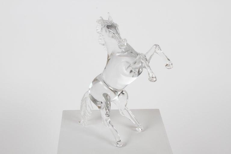 Pino Signoretto Signed Clear Murano Italian Glass Reared Up Horse Sculpture For Sale 2