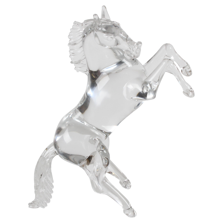 Pino Signoretto Signed Clear Murano Italian Glass Reared Up Horse Sculpture