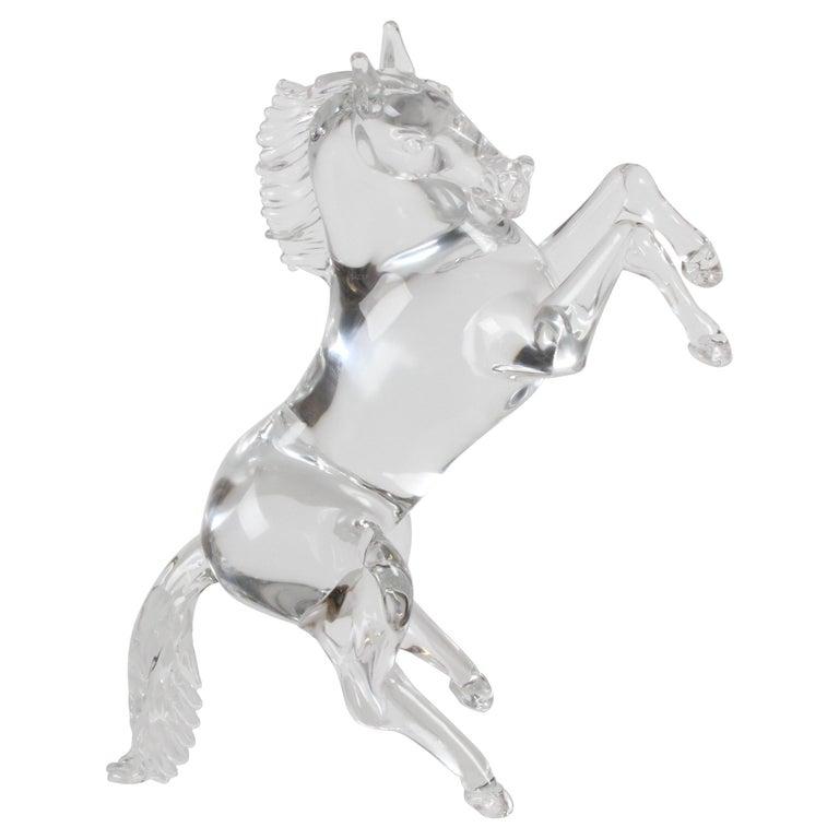 Pino Signoretto Signed Clear Murano Italian Glass Reared Up Horse Sculpture For Sale