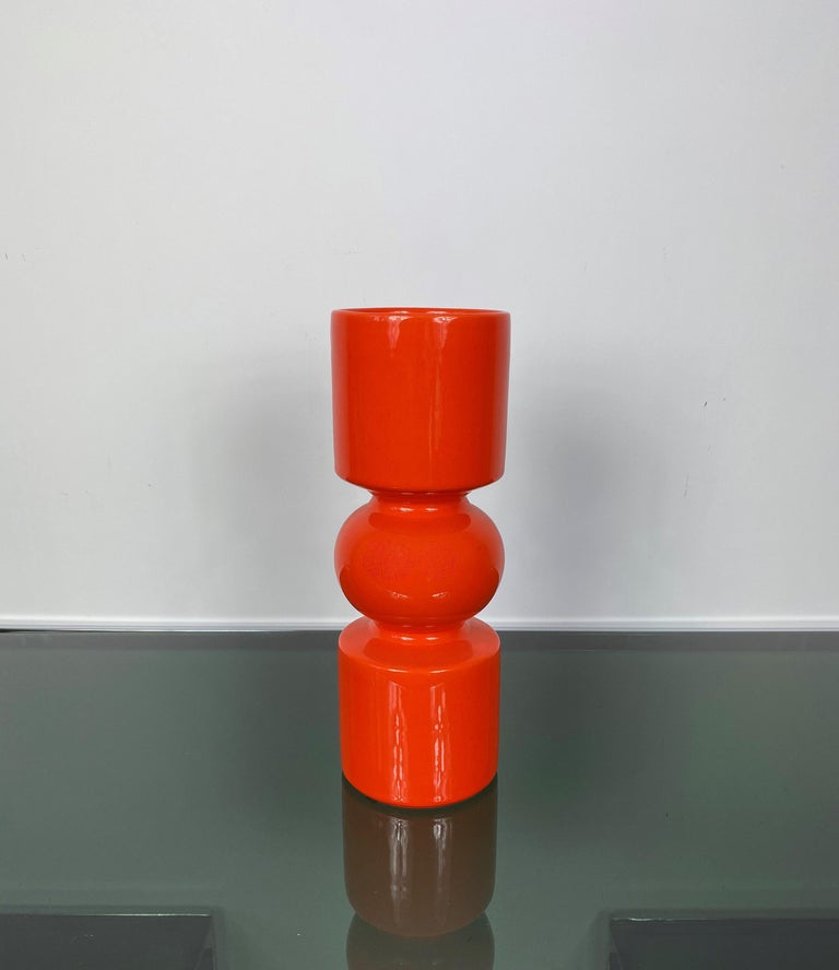 Mid-Century Modern Pino Spagnolo Orange Ceramic Vase for Sicart, Italy, 1970s For Sale