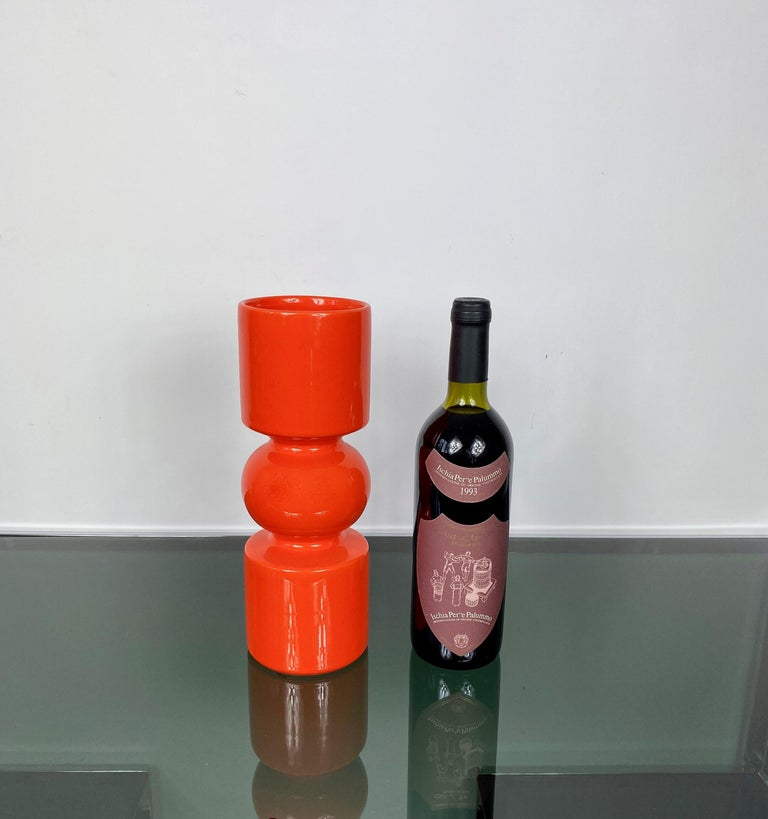 Pino Spagnolo Orange Ceramic Vase for Sicart, Italy, 1970s In Good Condition For Sale In Rome, IT