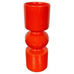 Pino Spagnolo Orange Ceramic Vase for Sicart, Italy, 1970s