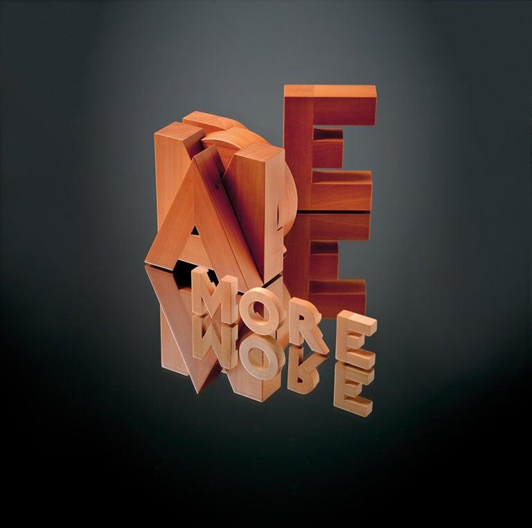 Modern Pino Tovaglia Small Parola Amore Collapsable Wooden Letters for Bottega Ghianda For Sale