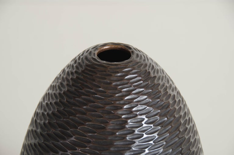 Repoussé Pino Vase in Antique Copper by Robert Kuo, Limited Edition For Sale