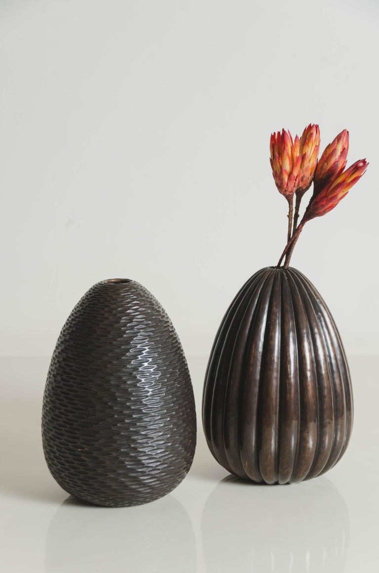 Pino Vase in Antique Copper by Robert Kuo, Limited Edition In New Condition For Sale In West Hollywood, CA