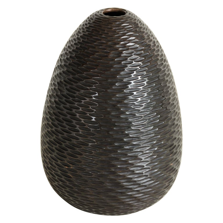Pino Vase in Antique Copper by Robert Kuo, Limited Edition For Sale