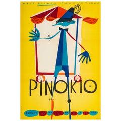 'Pinocchio' Original Vintage Polish Film Poster by Kazimierz Mann, 1962