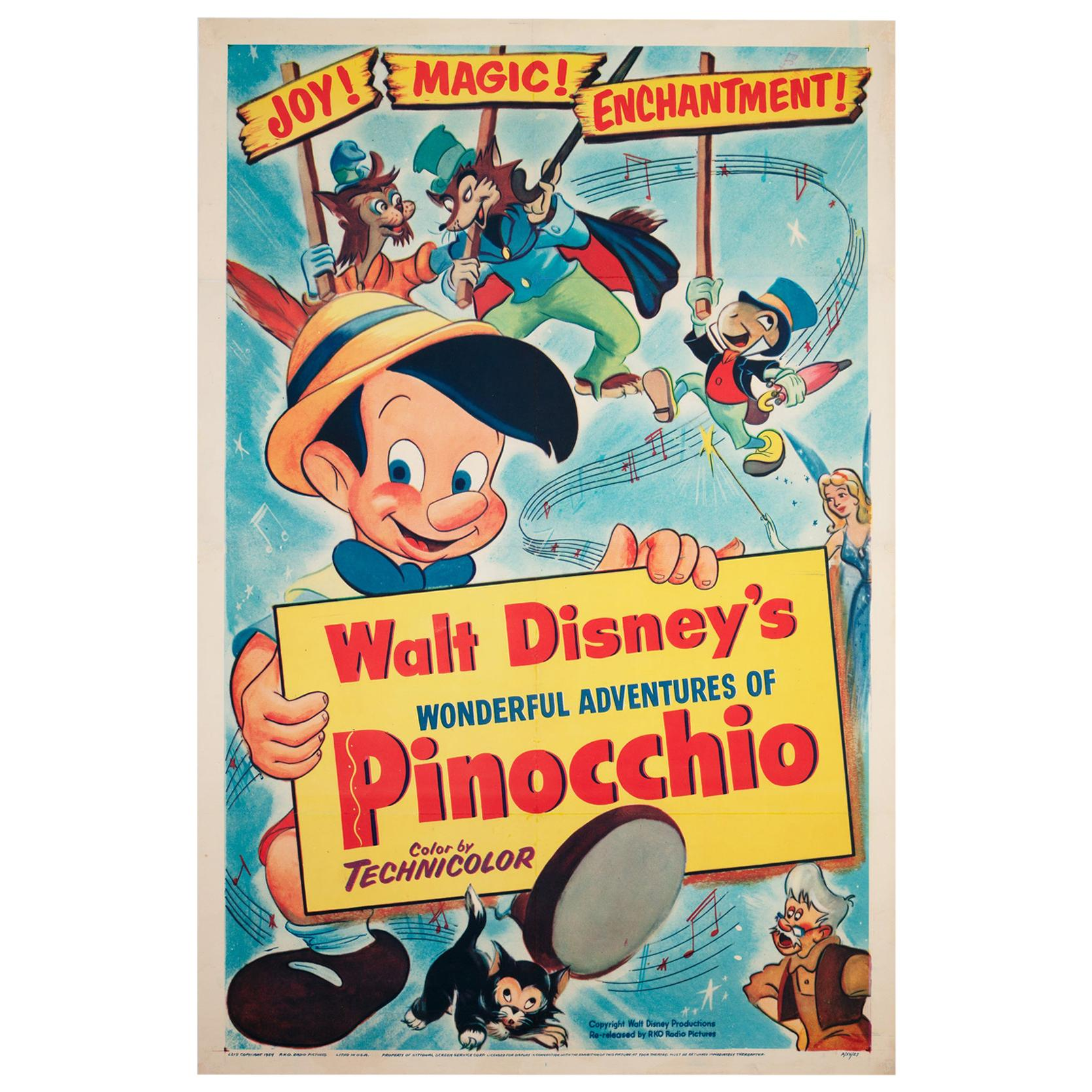 Pinocchio R1954 US 1 Sheet Film Movie Poster, Linen Backed