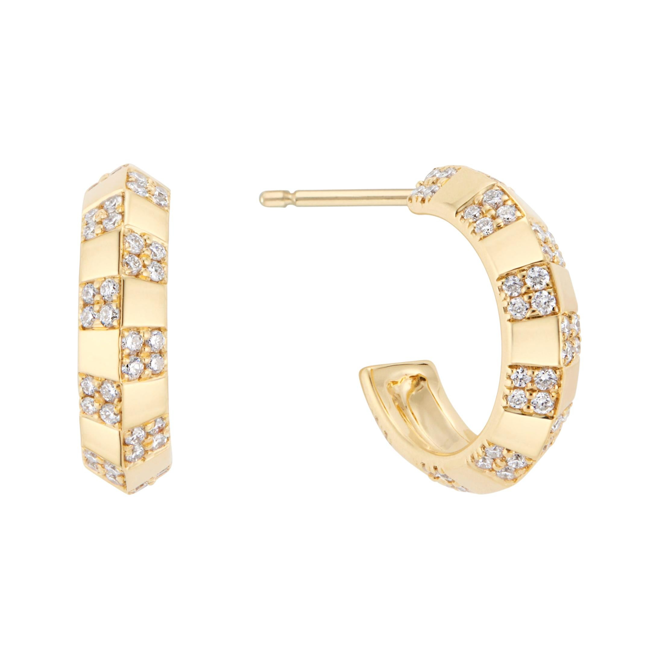 Pinstripe Strength Knife Edge Diamond Earring