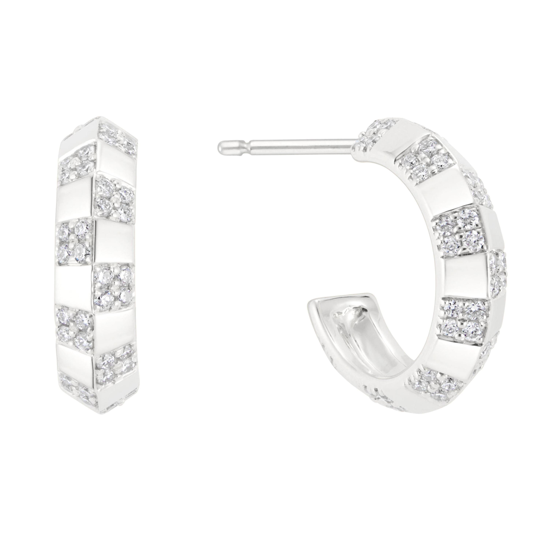 Pinstripe Strength Knife Edge Diamond Earring White Gold