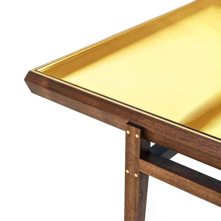 Modern Pintor Coffee Table, Walnut Frame with Brass Inlay, Yellow Glass Top For Sale