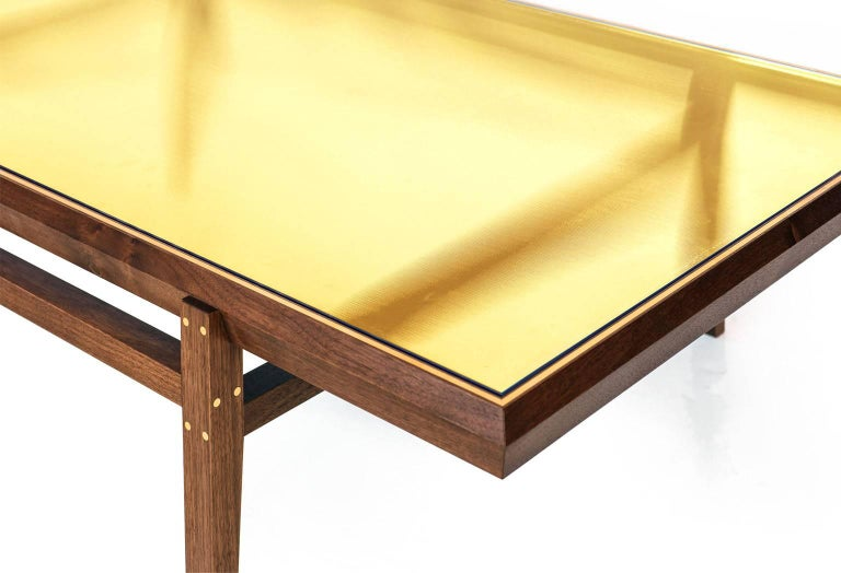 American Pintor Coffee Table, Walnut Frame with Brass Inlay, Yellow Glass Top For Sale
