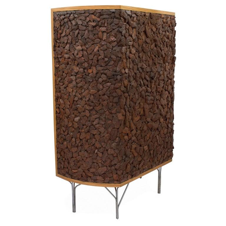 Brazilian Pinus Wood Bark Cabinet,