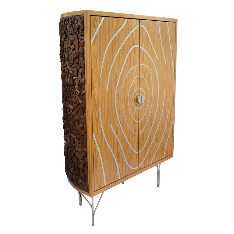 """Pinus Wood Bark Cabinet, """"Tronco"""" Contemporary Cabinet For Sale"""