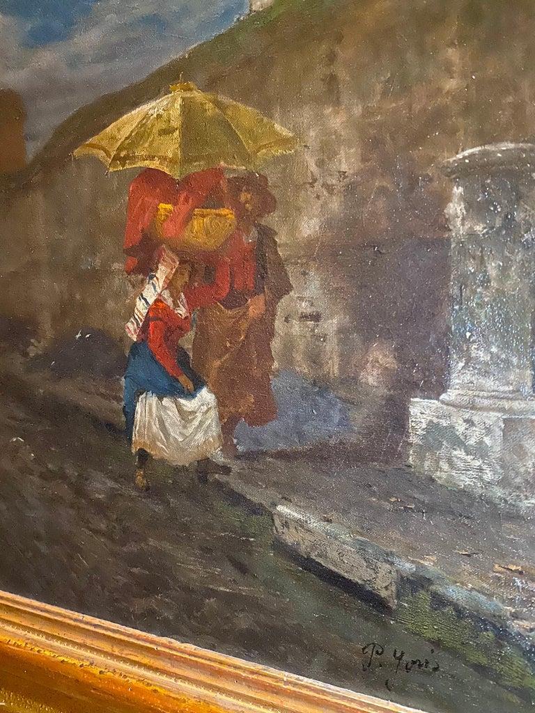 19th Century Italian Landscape Oil Painting - Via Flaminia on a Sunday morning For Sale 9