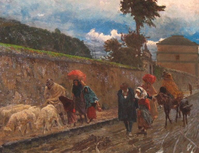 19th Century Italian Landscape Oil Painting - Via Flaminia on a Sunday morning - Brown Figurative Painting by Pio Joris