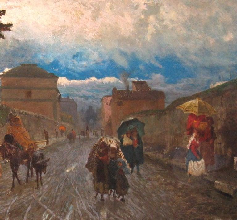 Pio Joris (Rome, 1843-1922). The Via Flaminia, a Sunday morning,