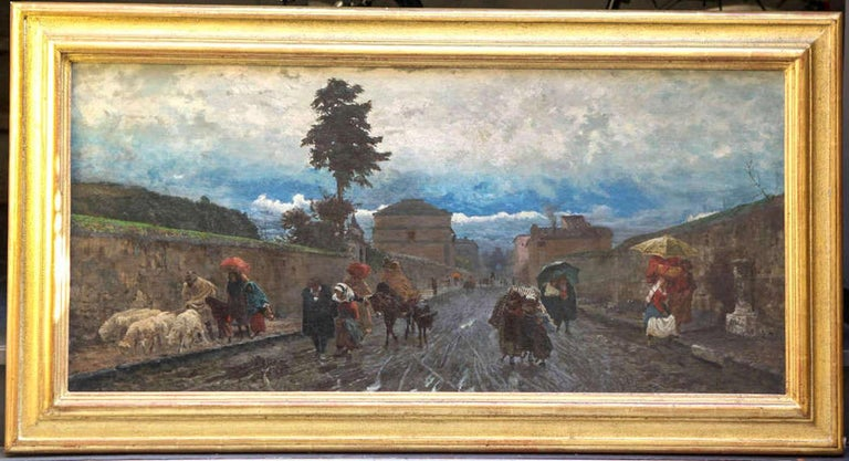 19th Century Italian Landscape Oil Painting - Via Flaminia on a Sunday morning For Sale 1