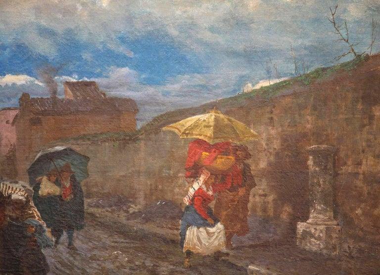 19th Century Italian Landscape Oil Painting - Via Flaminia on a Sunday morning For Sale 2