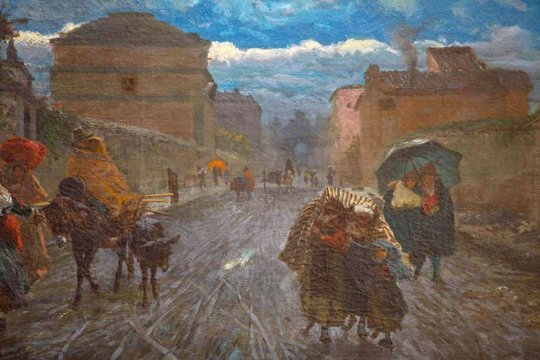 19th Century Italian Landscape Oil Painting - Via Flaminia on a Sunday morning For Sale 3