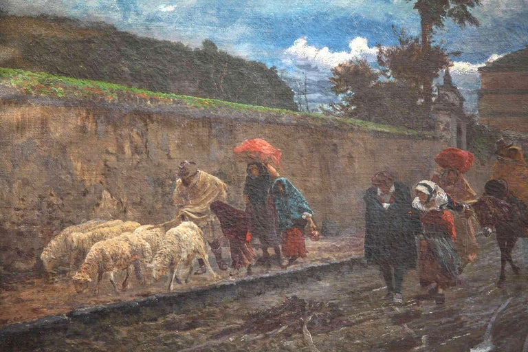 19th Century Italian Landscape Oil Painting - Via Flaminia on a Sunday morning For Sale 4