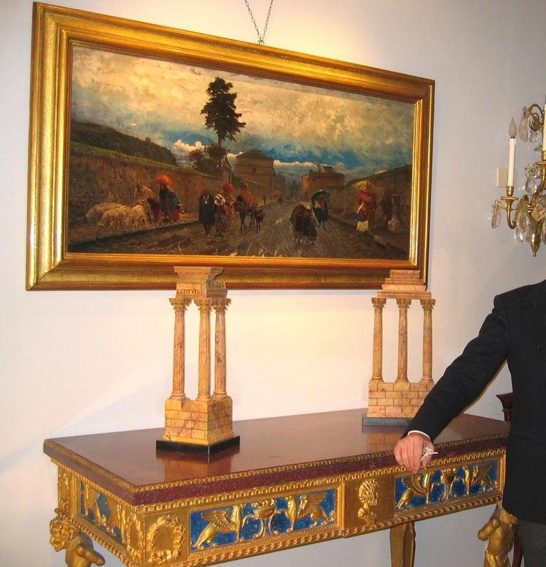 19th Century Italian Landscape Oil Painting - Via Flaminia on a Sunday morning For Sale 5