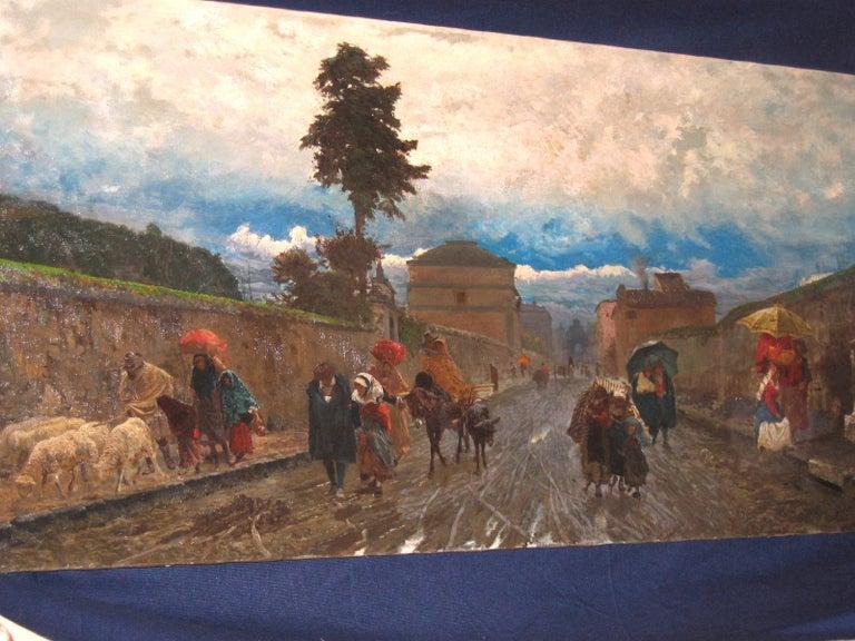 19th Century Italian Landscape Oil Painting - Via Flaminia on a Sunday morning For Sale 6