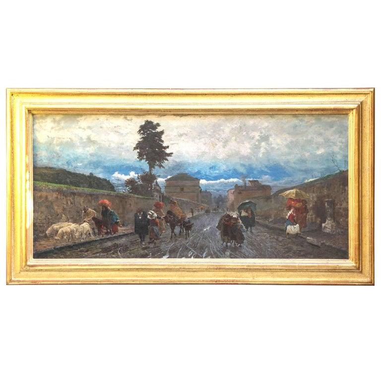 Pio Joris Figurative Painting - 19th Century Italian Landscape Oil Painting - Via Flaminia on a Sunday morning