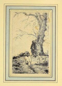 Landscape - Original Etching by Pio Joris - 1870s