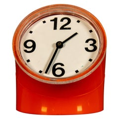 Pio Manzù Cronotime Ritz-Italora Orange Italian Table Clock, 1969