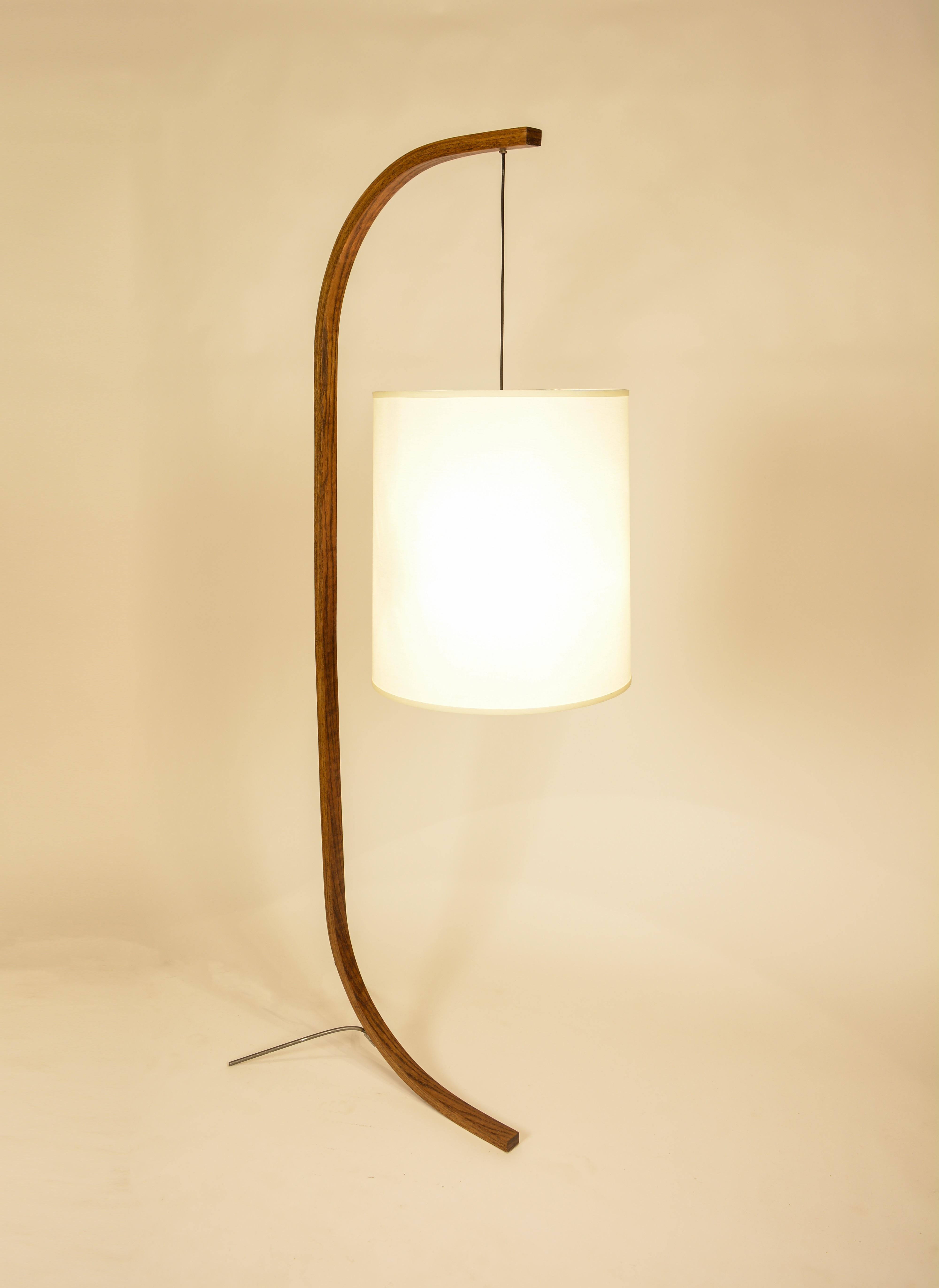 Pion - Wooden Floor Lamp with Steel Legs, 'Large'