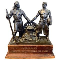 """Pioneer and Artisan,"" Rare Allegorical Sculpture by Lober for Dun & Bradstreet"