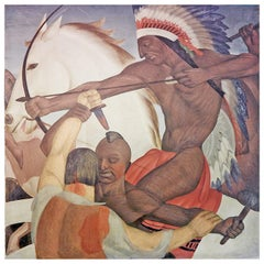 """Pioneers and Indians in Battle,"" Large, Extraordinary Art Deco Mural"