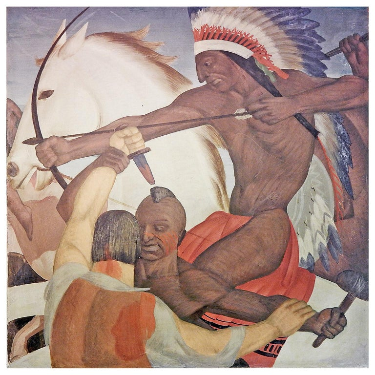 """Pioneers and Indians in Battle,"" Large, Extraordinary Art Deco Mural For Sale"