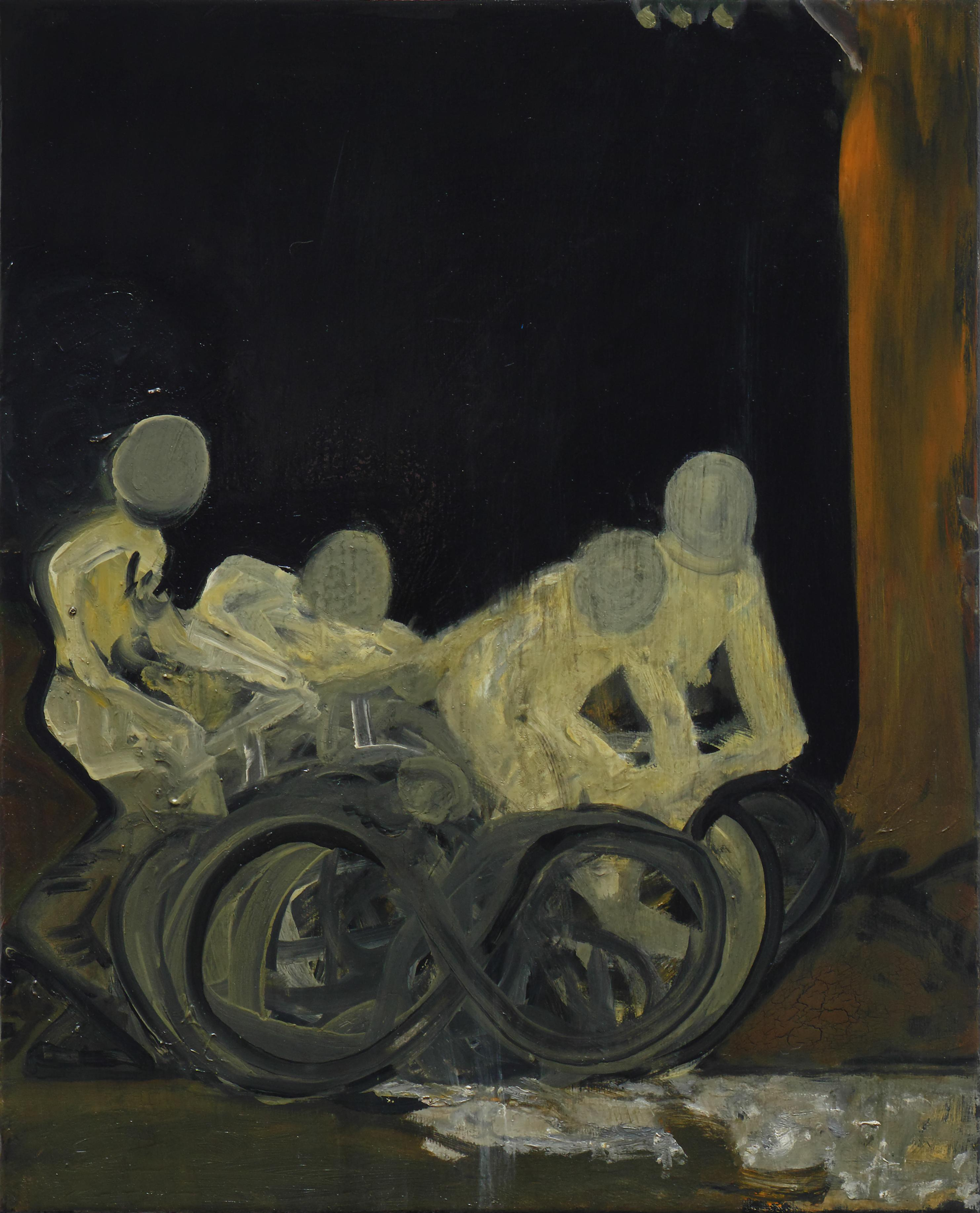 Bike Stories - Contemporary Figurative Oil Painting, Existentialism Art