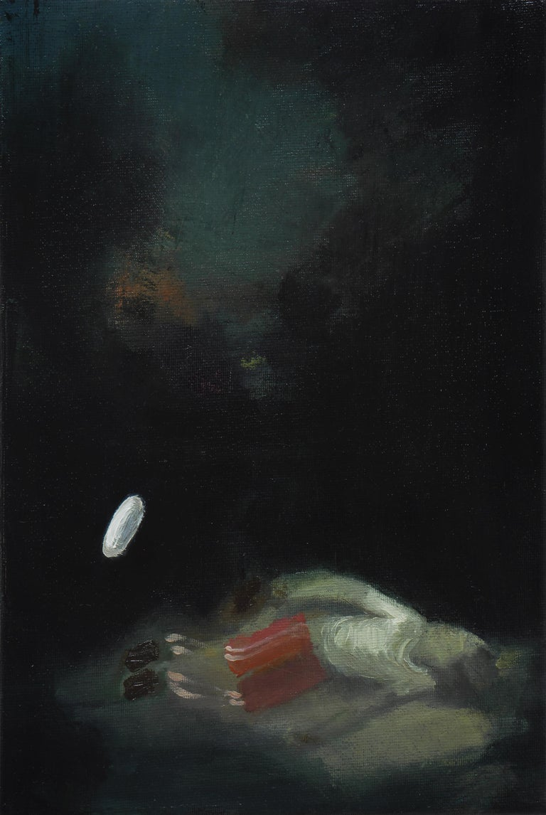 Piotr Kotlicki Figurative Painting - Reflective Journal  -  Modern Figurative Oil Painting, Existentialism Art