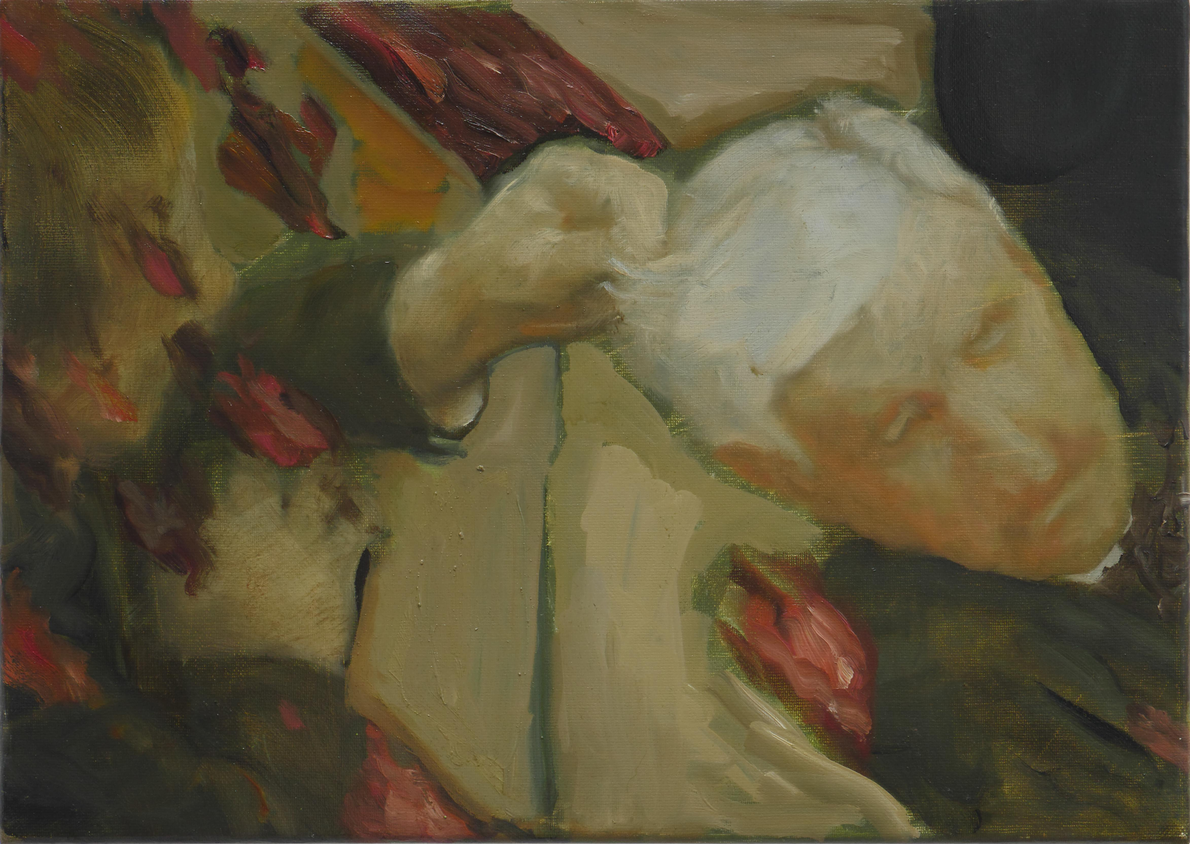 Where the Roses Grow - Contemporary Figurative Oil Painting, Existentialism