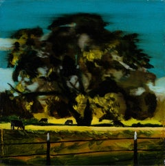 A PASTURE - from the series: MADE IN USA, Expressive Landscape Oil Painting