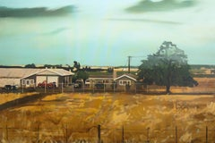 A RANCH -  Contemporary Figurative Oil Painting, USA Landscape Painting