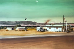 THE POST OFFICE ON ROUTE 66 - Contemporary Figurative Oil Painting,USA Landscape