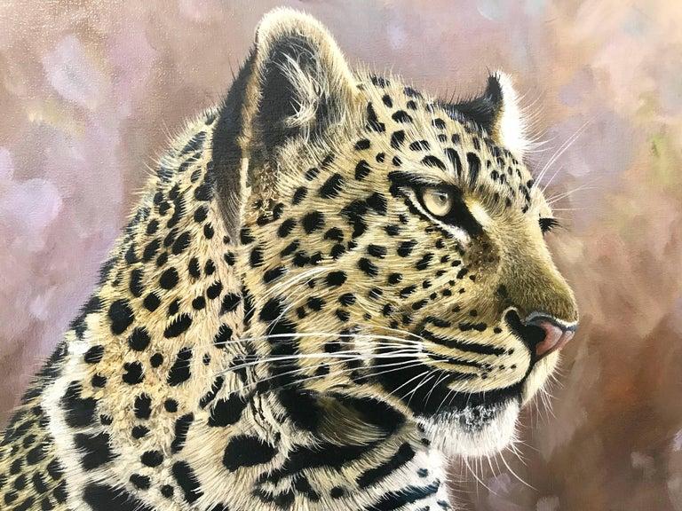 Leopard Portrait - Wild Cat Regal Beast Painting from British Wildlife Artist 3