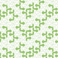 Pipes Designer Retro Geometric Wallpaper in Lime 'Kelly Green on White'