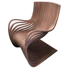 Pipo Taupe Wood Lounge Chair