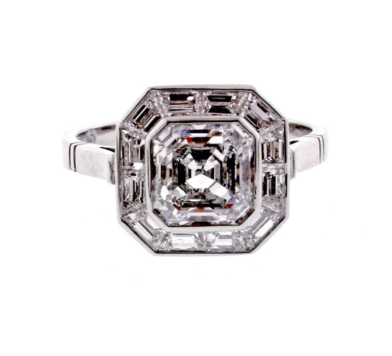 Pippa Middleton Style Asscher Cut Diamond Engagement Ring For Sale 4