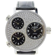 Pippo Steel Diamond Bezel Automatic Watch, circa 2010 with 3 Carat of Diamonds