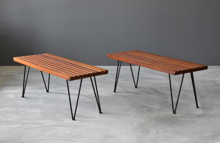 """A pair benches designed by husband and wife duo Pipsan Saarinen Swanson & J. Robert F. Swanson. They were designed by their firm Swanson and Associates as part of the """"Sol-Air"""" line for Ficks Reed Company, Cincinnati in 1949.   The line was"""