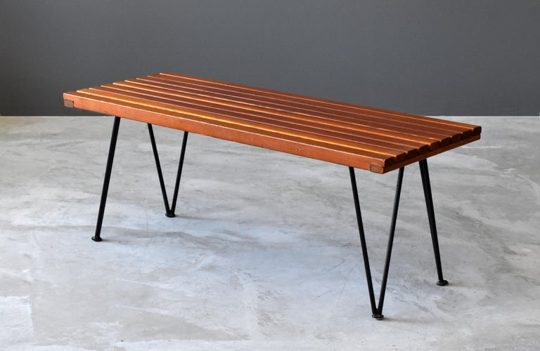 Pipsan Saarinen & J. Robert F. Swanson, Benches, Steel, Pine Ficks Reed 1949 In Good Condition For Sale In West Palm Beach, FL